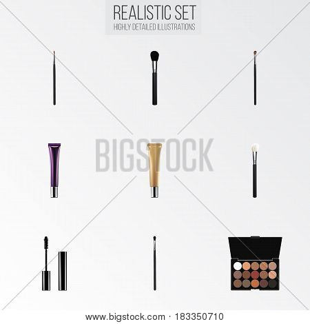 Realistic Day Creme, Make-Up Product, Collagen Tube And Other Vector Elements. Set Of Cosmetics Realistic Symbols Also Includes Makeup, Cream, Cosmetics Objects.