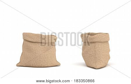 3d rendering of two open canvas sacks, one sack in front view and another in side view on white background. Transportation and delivery. Buying in bulk. Dry goods.
