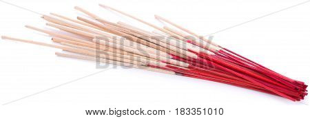 incense on isolate and white background red, asia, religion, burn, spiritual, belief, culture, religious, aroma, temple,