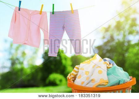 Clean baby laundry outdoor