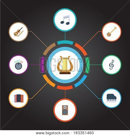 Flat Fiddle, Knob, Banjo And Other Vector Elements. Set Of Studio Flat Symbols Also Includes Box, Keys, Speaker Objects.