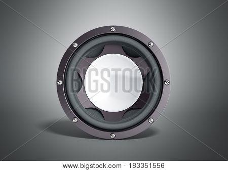 Black Loudspeaker 3D Render On Grey Background