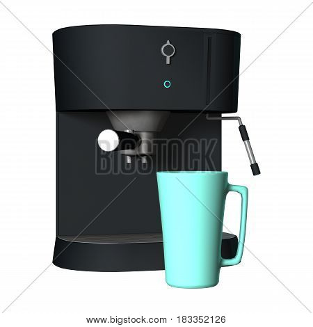 3D Rendering Coffee Machine And Mug On White