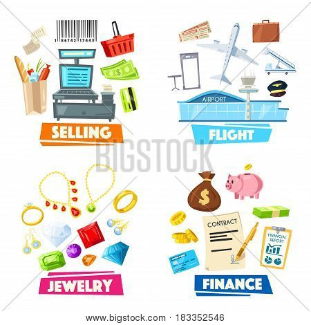 Vector items set of retail selling, travel flight or business finance and jewelry accessories. Work icons of people professions airplane pilot, supermarket shop seller, gold jeweler and businessman