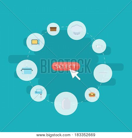 Flat Glass Container, Dish, Casserole And Other Vector Elements. Set Of Gastronomy Flat Symbols Also Includes Chef, Casserole, Plate Objects.