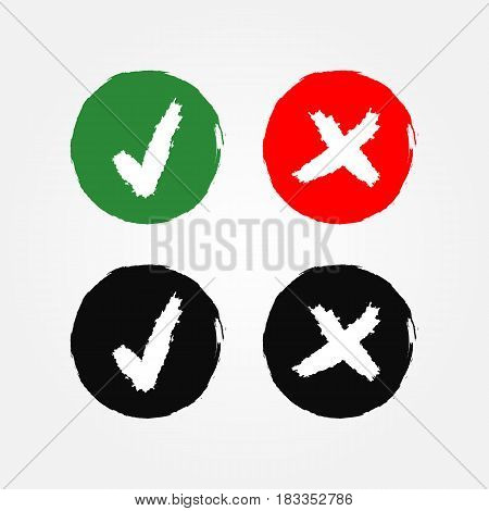 Round signs with a tick and a cross. The option button Yes and No is drawn with a brush. Grunge. Red green black white.