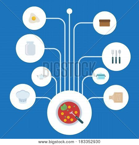 Flat Chef Hat, Silverware, Breadboard And Other Vector Elements. Set Of Gastronomy Flat Symbols Also Includes Fork, Kettle, Fried Objects.