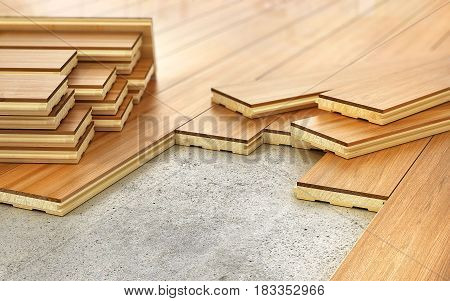 Stack of parquet. Timberwork lumber work and woodwork industry concept: stacks of wooden timber planks on the wooden floor. 3d illustration