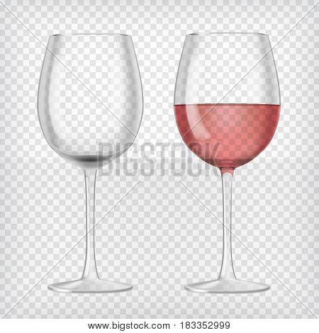 Set of realistic transparent wine glasses. One glass red wine and empty glass. Graphic design element for advertisement, flyer, poster, web site, restaurant menu, scrapbooking. Vector illustration