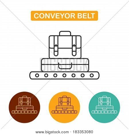 Conveyor belt with luggage icon. Suitcase and briefcase vector illustration. Travel icon for web and graphic design. Line style logo.