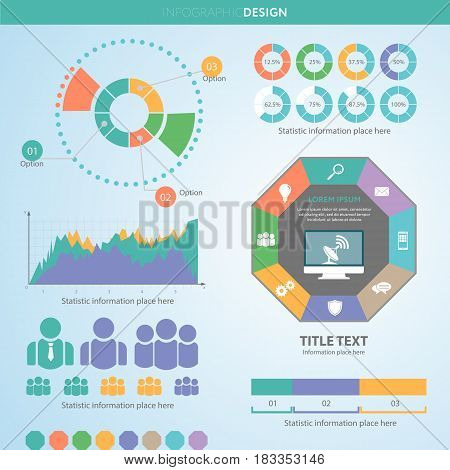 Business Data Pie Charts Graphs.market Report Presentation. Vect