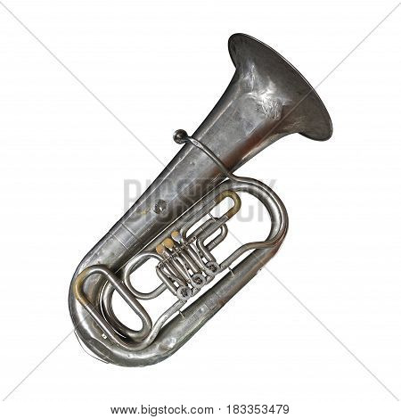 Musical brass instrument - Vintage tuba on a white background. It is isolated the worker of paths is present.