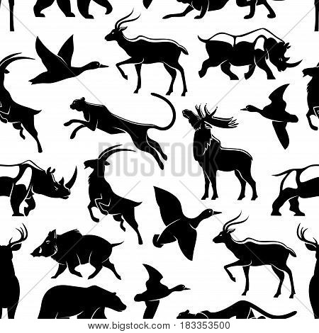 Hunting vector seamless pattern. Silhouettes of African cheetah panther or puma cat, forest elk or deer and aper boar, grizzly bear or savanna rhinoceros and mountain goat, gazelle and duck