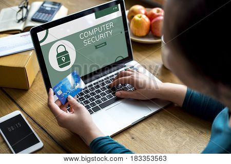 Illustration of computer security system on laptop