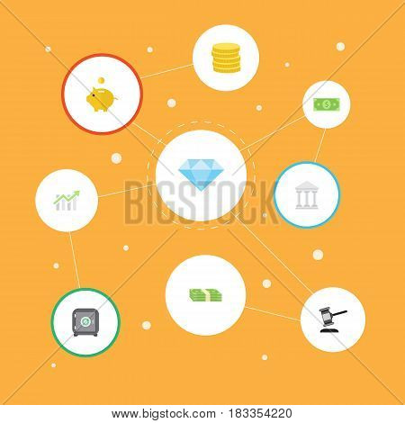 Flat Cash Stack, Money, Bank And Other Vector Elements. Set Of Commerce Flat Symbols Also Includes Dollar, Piggy, Safe Objects.