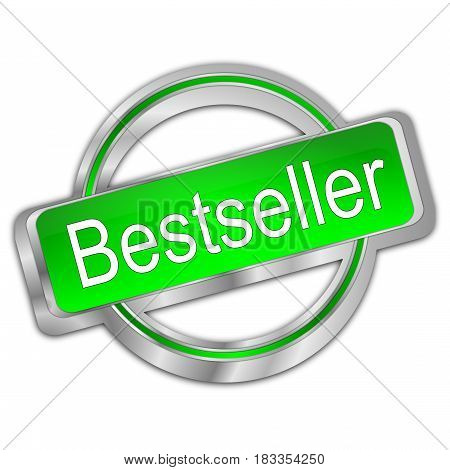 decorative silver green Bestseller button - 3D illustration