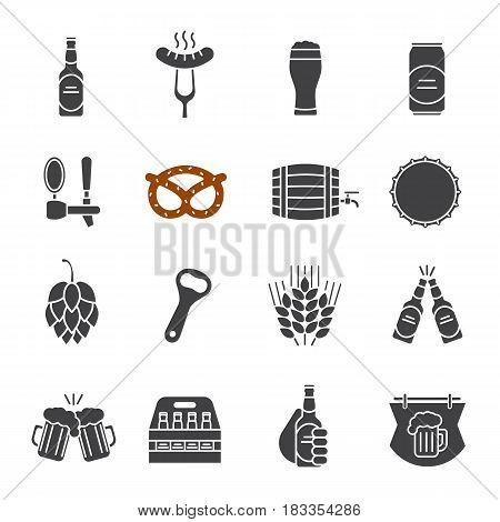 Beer glyph icons set. Bar and pub silhouette symbols. Foamy beer glass, bottle, can, mug, keg, crate, tap, cap, bottle opener, sausage on fork, brezel. Vector isolated illustration