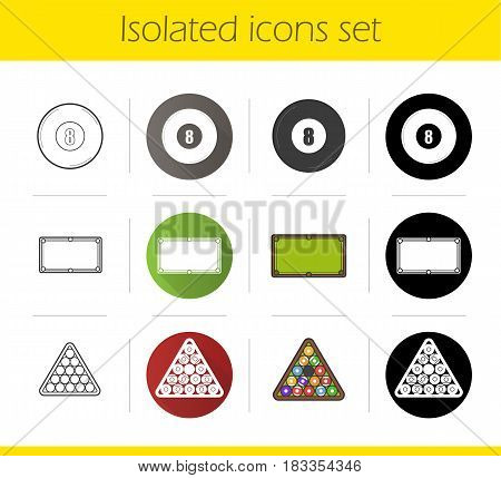 Billiard icons set. Flat design, linear, black and color styles. Pool equipment. Eight ball, table, triangle balls rack. Isolated vector illustrations