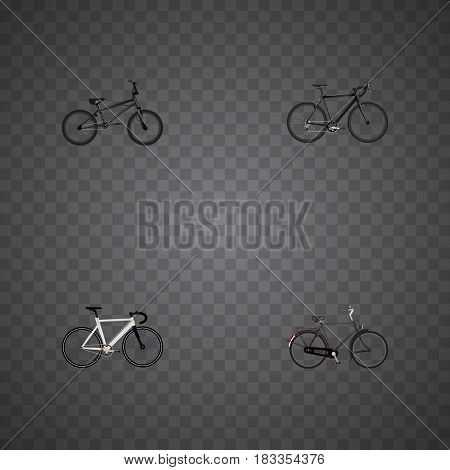 Realistic Extreme Biking, Training Vehicle, Road Velocity And Other Vector Elements. Set Of Bike Realistic Symbols Also Includes Cyclocross, Bicycle, Velocipede Objects.