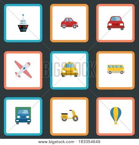 Flat Cab, Airship, Boat And Other Vector Elements. Set Of Vehicle Flat Symbols Also Includes Automobile, Airplane, Ship Objects.
