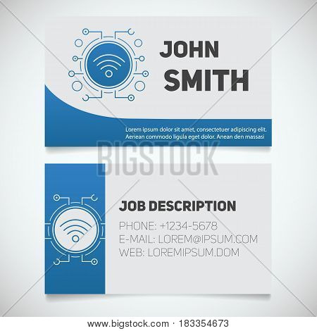 Business card print template with wifi spot logo. Lan admin. Stationery design concept. Vector illustration