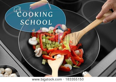 Cooking school concept. Man mixing vegetables in pan, closeup