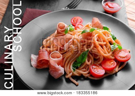 Culinary school concept. Plate with delicious pasta, closeup