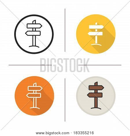 Signpost icon. Flat design, linear and color styles. Wooden way direction signpost. Isolated vector illustrations
