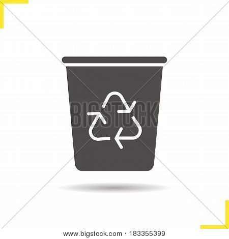 Recycle bin glyph icon. Drop shadow wastebasket silhouette symbol. Dustbin. Negative space. Vector isolated illustration