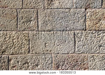 Old wall made of the Jerusalem stone wall. Israel