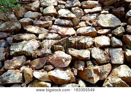 Stone Barrier Texture Background in The Mountain.
