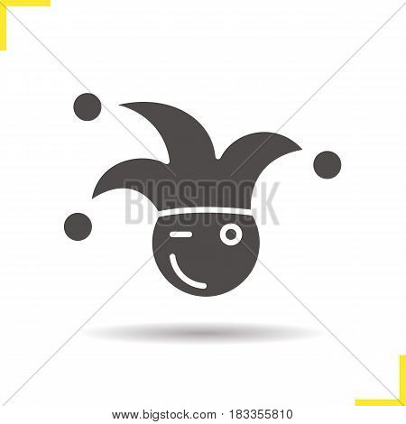 1st April fool icon. Drop shadow jester silhouette symbol. Joker. Negative space. Vector isolated illustration