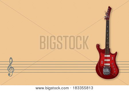 Vintage electric guitar on a Music staff and Clef background.