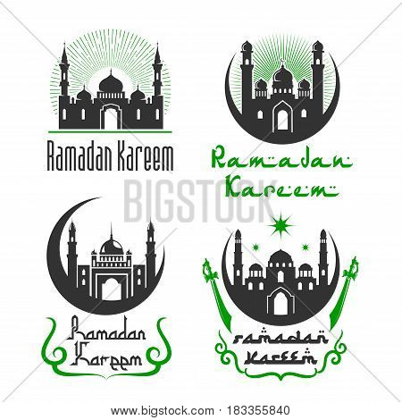 Ramadan Kareem greetings of mosque, crescent moon and shining star in sky, lanterns in minarets and Arabic calligraphy for Islamic or Muslim traditional religious holiday. Vector isolated icons set