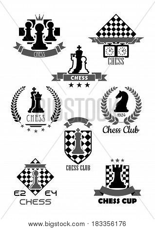 Chess club vector icon for chessplayer team or tournament contest. Vector symbols chessman pieces king and queen, rook or pawn and knight bishop on chessboard, ribbons and laurel stars