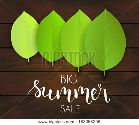 Banner for summer sale. Green leaves on dark wooden background. Vector illustration.