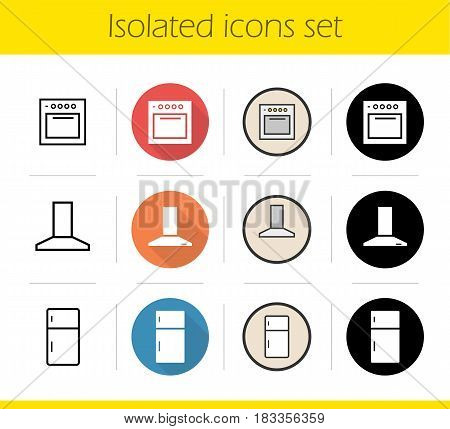 Kitchen interior icons set. Flat design, linear, black and color styles. Extractor hood, fridge, stove. Isolated vector illustrations