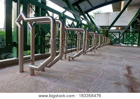 Bicycle Parking Rack Area on BRT Sky Train Overpass in Bangkok.