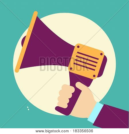 Loudspeaker Vector Illustration. Megaphone Flat Symbol. Loudspea