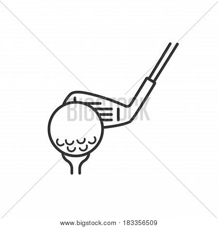 Golf ball on tee with club linear icon. Thin line illustration. Putter contour symbol. Vector isolated outline drawing