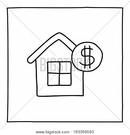 Doodle real estate house icon. Black white symbol with frame. Line art style graphic design element. Web button. Buying house, renting apartment, new home, moving concept. Vector illustration