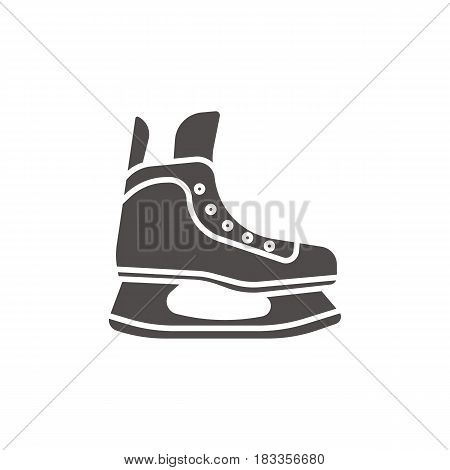 Ice skate glyph icon. Silhouette symbol. Hockey skate. Negative space. Vector isolated illustration
