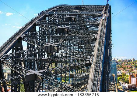 Sydney Harbour Bridge, Australia, detail looking from right above