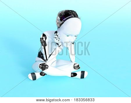 3D rendering of a robot child sitting on the floor and thinking. Bluish background.
