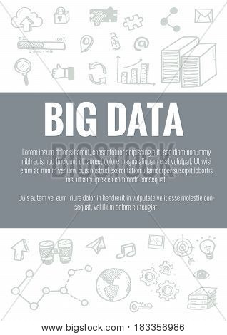 Vector Template For Big Data Theme With Hand Drawn Doodles Business Icon In Background.concept For B