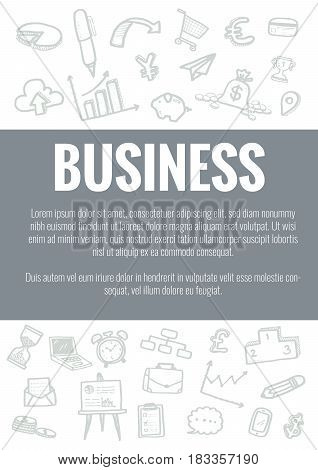 Vector Template For Business Theme With Hand Drawn Doodles Business Icon In Background.concept For B