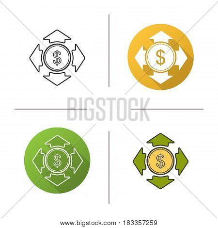 Money spending icon. Flat design, linear and color styles. Dollar coin with all direction arrows. Isolated vector illustrations