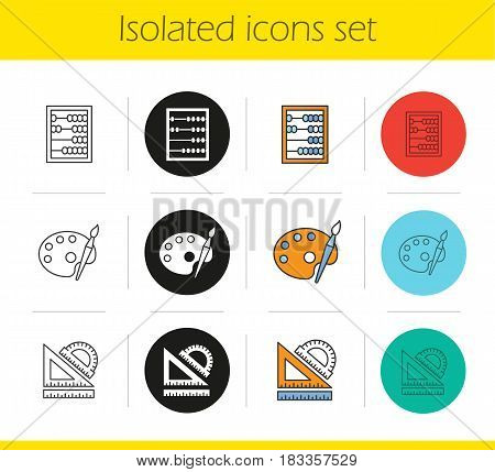 Education icons set. Linear, black and color styles. Mathematics, art, geometry symbols. School rulers, abacus, palette with brush. Isolated vector illustrations