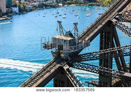 Work crane on Sydney Harbour Bridge, Australia, looking down from right above