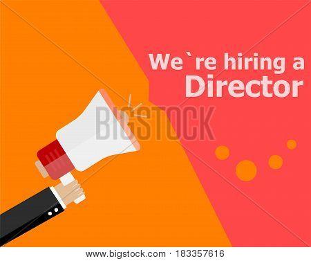 Flat Design Business Concept. We Are Hiring A Director. Digital Marketing Business Man Holding Megap